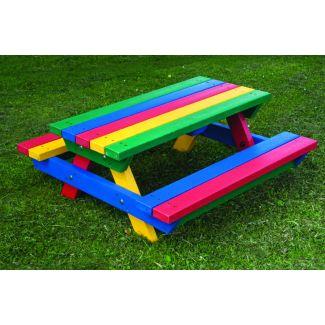 Teeny Tot Recycled Plastic Picnic Bench - Rainbow